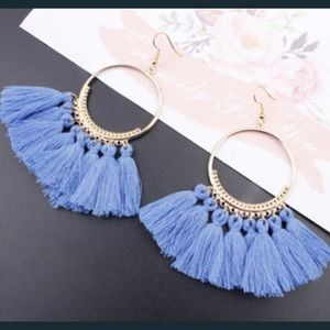 Jewelry - 🆕COMING SOON- The Vivi Boho Blue Fringe Earring